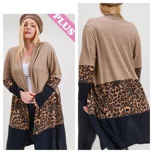 Leopard Color Block Brushed Cashmere Knit Cardigan